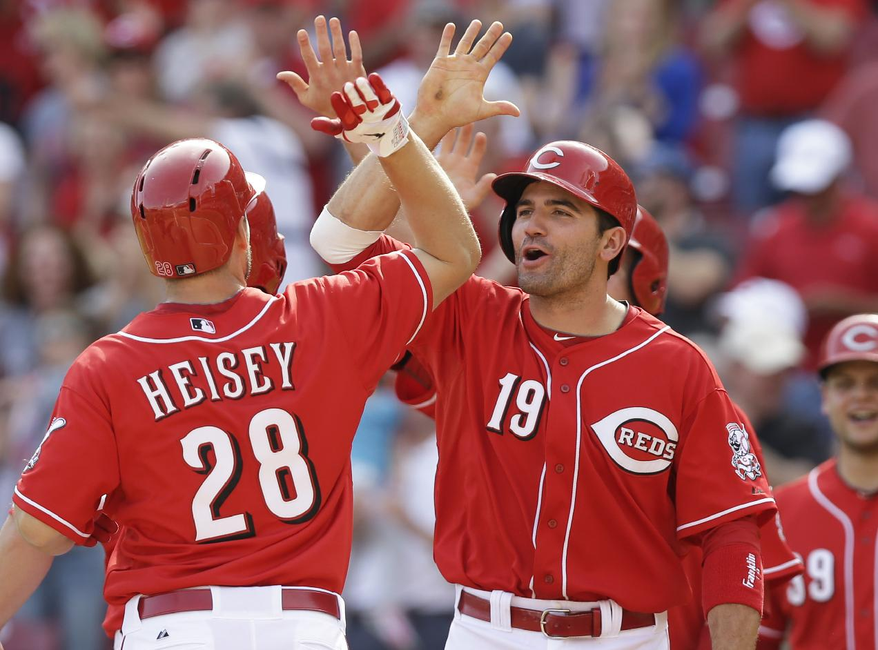 Cincinnati Reds' Chris Heisey (28) is congratulated by Joey Votto (19) after Heisey hit a pinch-hit grand slam off Tampa Bay Rays relief pitcher Josh Lueke in the eighth inning of a baseball game, Sunday, April 13, 2014, in Cincinnati. Cincinnati won 12-4