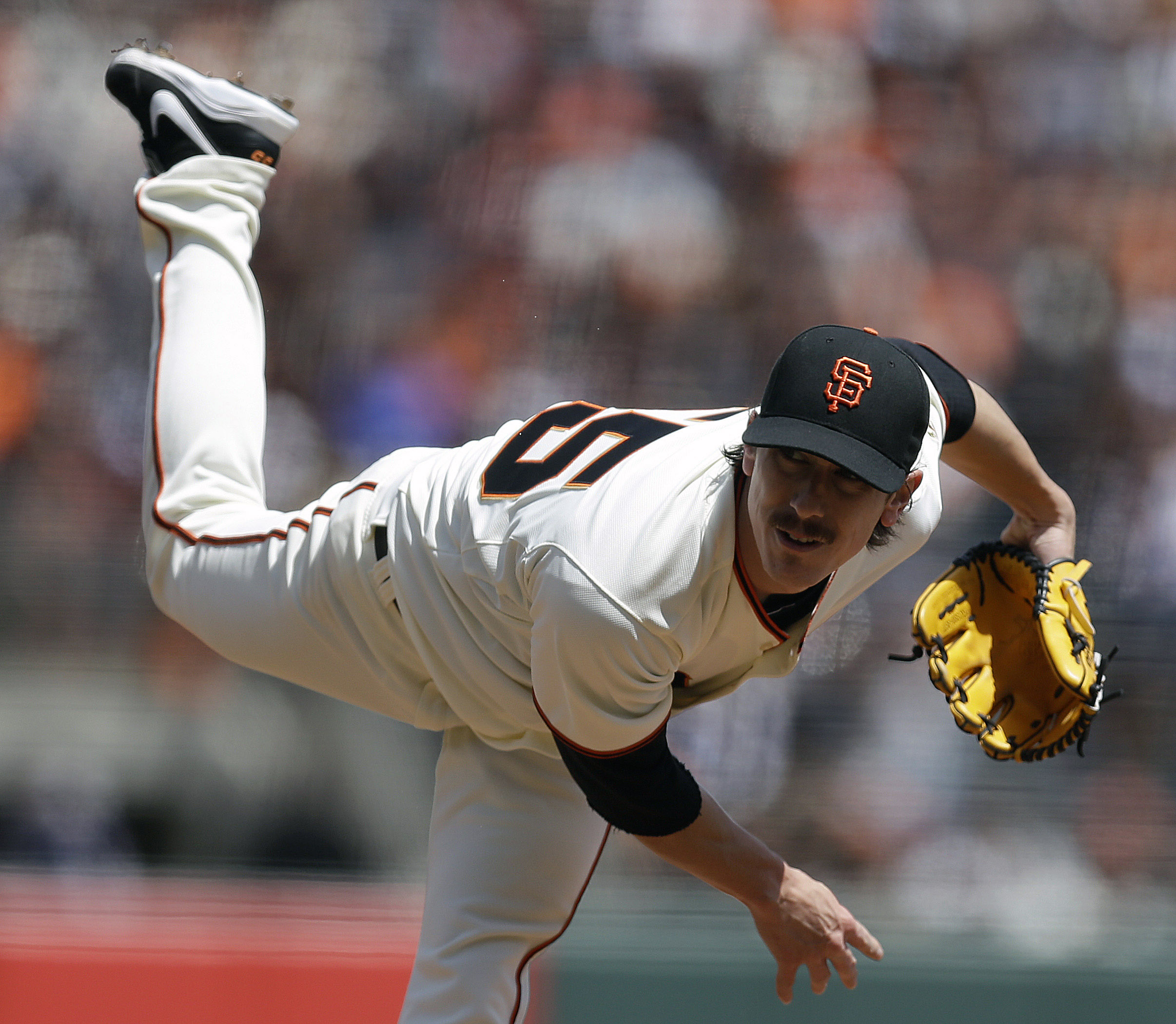 San Francisco Giants' Tim Lincecum works against the Cleveland Indians in the first inning of a baseball game on Saturday, April 26, 2014, in San Francisco