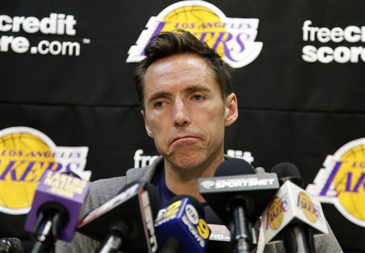 Los Angeles Lakers guard Steve Nash talks to reporters during an NBA basketball news coneference in El Segundo, Calif., Monday, April 29, 2013. The Lakes lost their first-round playoff series to the San Antonio Spurs. 