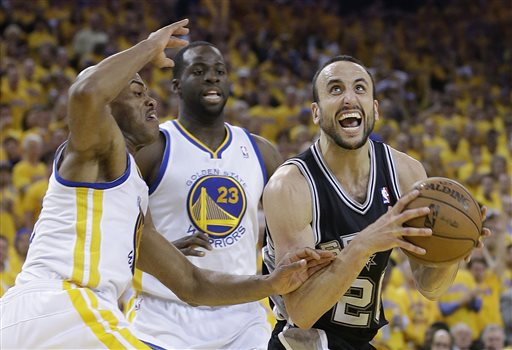 San Antonio Spurs shooting guard Manu Ginobili, right, drives against Golden State Warriors point guard Jarrett Jack, left, and small forward Draymond Green (23) during the second half of Game 6 of a Western Conference semifinal NBA basketball playoff series in Oakland, Calif., Thursday, May 16, 2013. The Spurs won 94-82