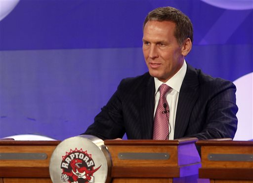 Toronto Raptors president Bryan Colangelo represents his team during the NBA basketball draft lottery, Tuesday, May 21, 2013 in New York