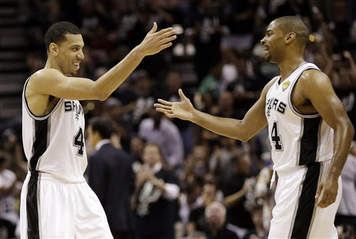 Danny Green, left, and Gary Neal combined for 51 points for the Spurs in Game 3. (AP)