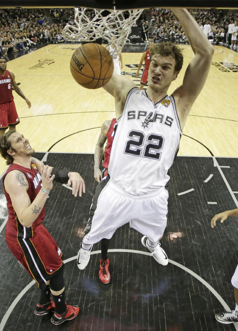 Tiago Splitter averaged 10.3 points and 6.4 rebounds for the Spurs this past season. (AP)
