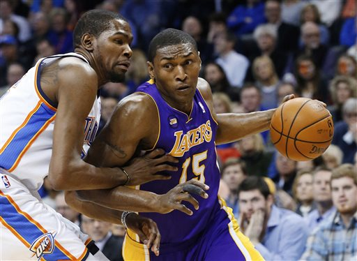Metta World Peace averaged 12.4 points in 75 games for the Lakers last season. (AP)