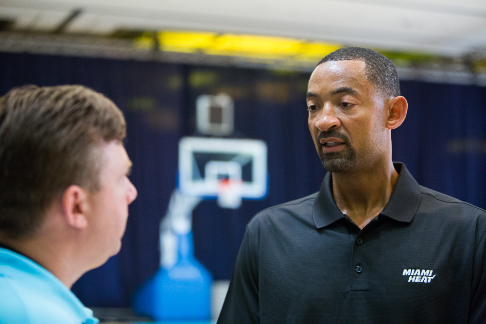 Juwan Howard  talks with Tim Reynolds about transitioning from life as a player to life as an assistant coach Wednesday Oct. 2, 2013 at the Atlantis Resort in Paradise Island, Bahamas after practice. Howard is starting his first season as a Heat assistant coach, turning down other job opportunities to stay in Miami and start a path that he hopes eventually leads to him taking over his own team. He spent the last three years of his playing career with Miami, winning his first two championship rings