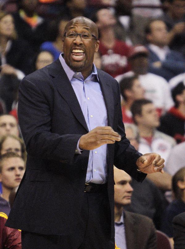 Cleveland Cavaliers' head coach Mike Brown instructs his team against the Philadelphia 76ers during the first quarter of an NBA preseason basketball game Monday, Oct. 21, 2013, in Columbus, Ohio