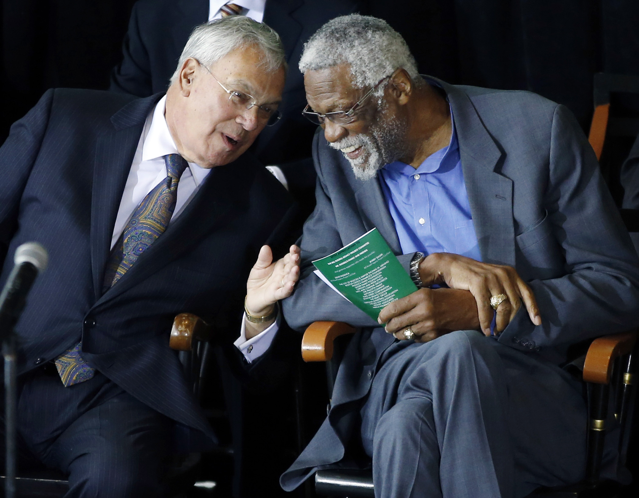 Former Boston Celtics basketball star Bill Russell, right, chats with Boston Mayor Thomas Menino during a ceremony honoring Russell after his statue was unveiled at City Hall Plaza in Boston, Friday, Nov. 1, 2013
