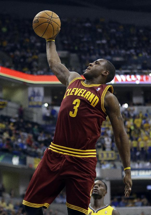 Cleveland Cavaliers' Dion Waiters goes up for a dunk during the first half of an NBA basketball game against the Indiana Pacers, Saturday, Nov. 2, 2013, in Indianapolis