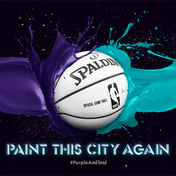 This undated image provided by the Charlotte Bobcats shows the color scheme that owner Michael Jordan announced Sunday, Nov. 24, 2013, that his team will utilize when it changes its name to the Charlotte Hornets next season. Purple and teal will be the teams primary colors
