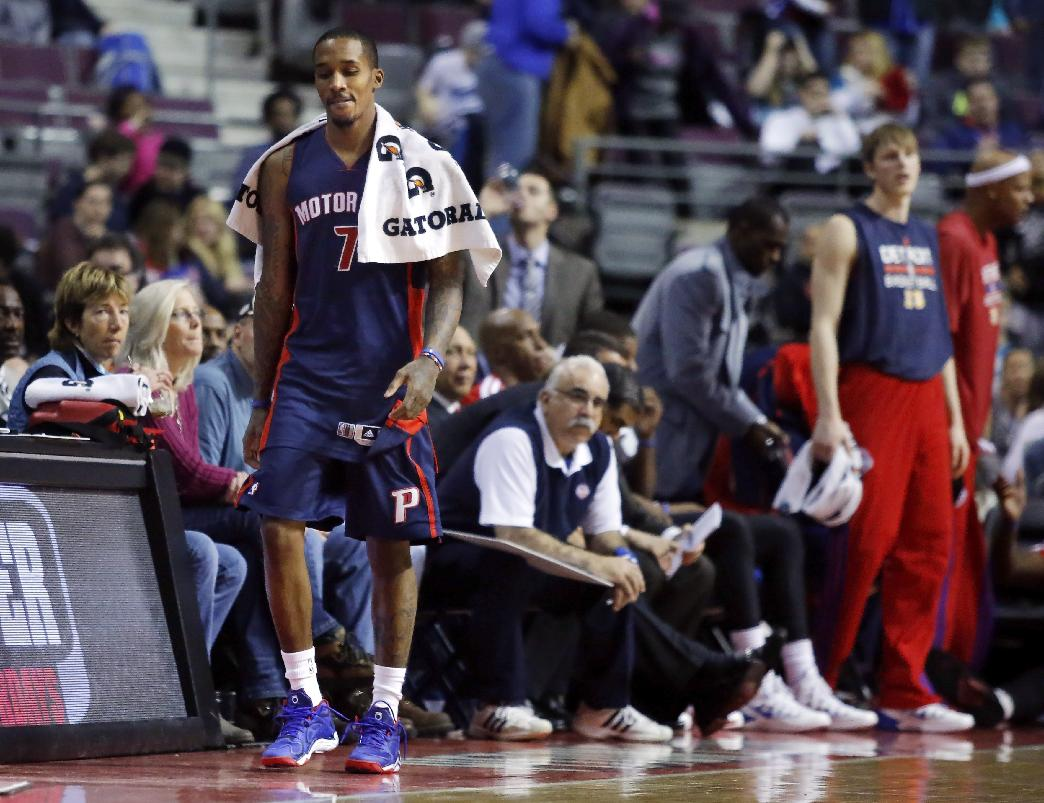 Detroit Pistons guard Brandon Jennings (7) heads for the locker room after the final buzzer of a 112-84 loss to the Memphis Grizzlies in an NBA basketball game on Sunday, Jan. 5, 2014, in Auburn Hills, Mich