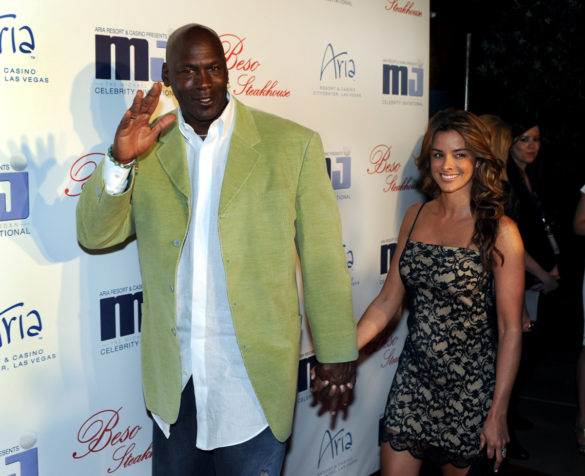 In this photo provided by the Las Vegas News Bureau, basketball great Michael Jordan and girlfriend Yvette Prieto arrive for a celebrity dinner at Beso inside Crystals in City Center in Las Vegas. Jordan's wife, Yvette, has given birth to the couple's identical twin daughters on Tuesday, Feb. 11, 2014, Jordan's spokeswoman Estee Portnoy told The Associated Press