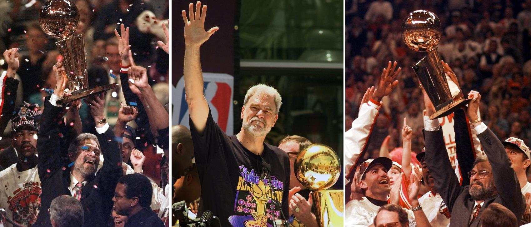 At left, in a  June 13, 1997, file photo, Chicago Bulls coach Phil Jackson hoists the NBA Championship trophy aloft after the Bulls beat the Utah Jazz 90-86 in Game 6 of the NBA Finals. in Chicago. At center, in a June 21, 2000 file photo, Los Angeles Lakers head coach Phil Jackson waves to the crowd as the Lakers and thousands of their fans celebrate their NBA Championship in downtown Los Angeles. At right, in a June 16, 1996 file photo, Chicago Bulls coach Phil Jackson hoists the NBA championship trophy after the Bulls beat Seattle in Game 6 of the NBA Finals in Chicago. Carmelo Anthony says he has heard that 11-time NBA champion coach Phil Jackson will be