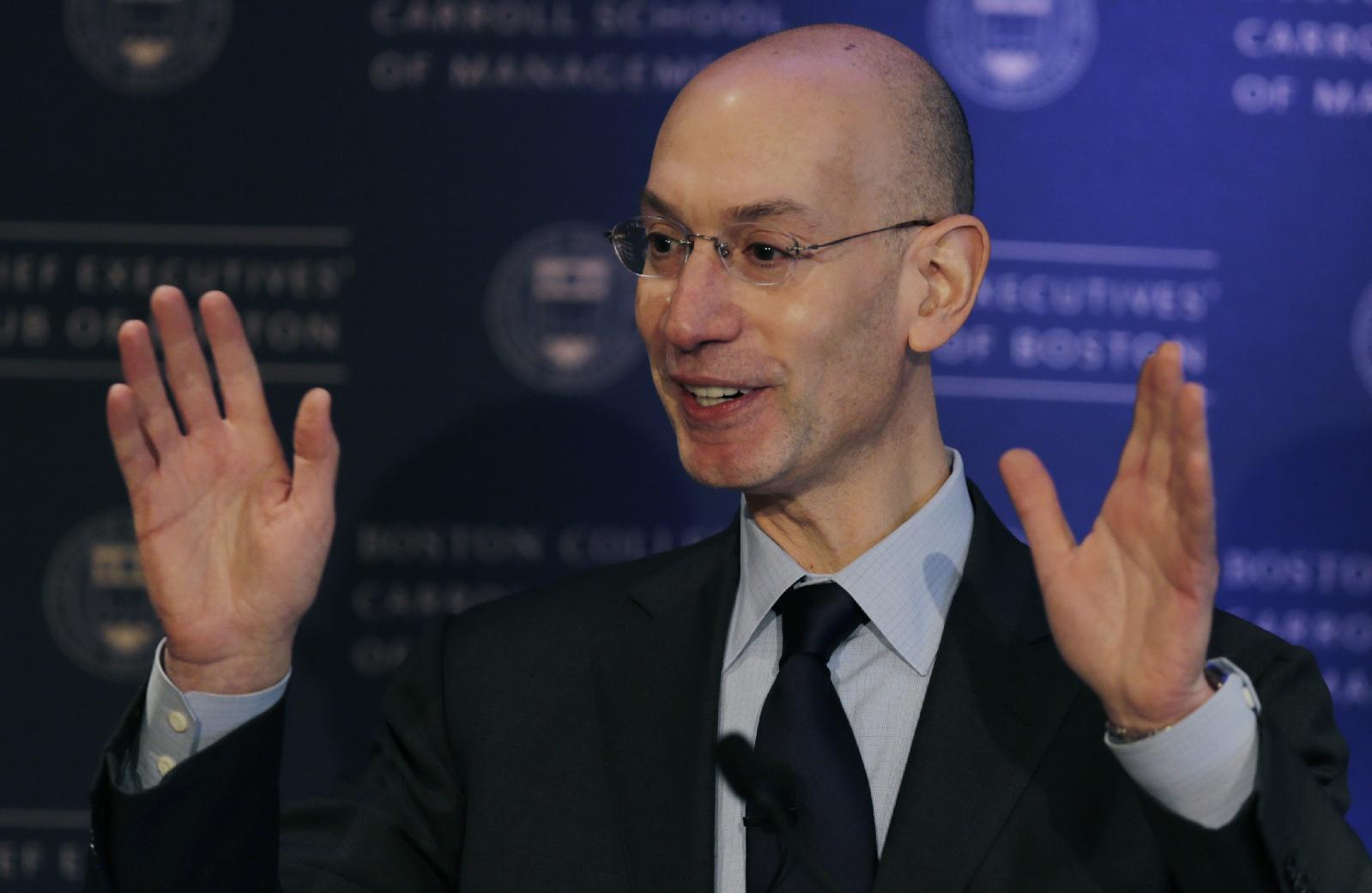 NBA commissioner Adam Silver gestures during an address, Wednesday, March 12, 2014, in Boston. Silver commented on some teams with losing records