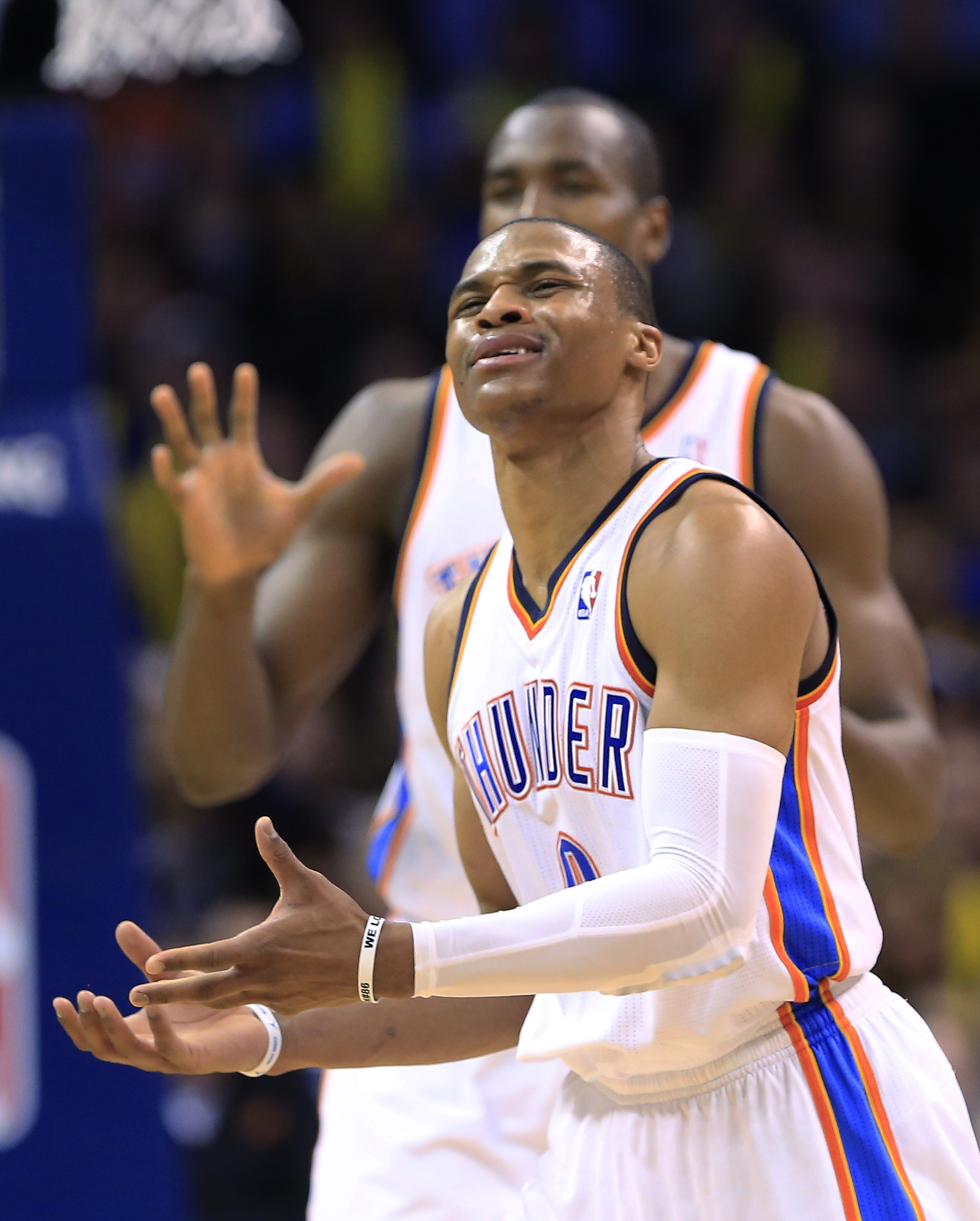 Oklahoma City Thunder guard Russell Westbrook (0) reacts to an official's call during the third quarter of an NBA basketball game against the Los Angeles Lakers in Oklahoma City, Thursday, March 13, 2014. Oklahoma City won 131-102
