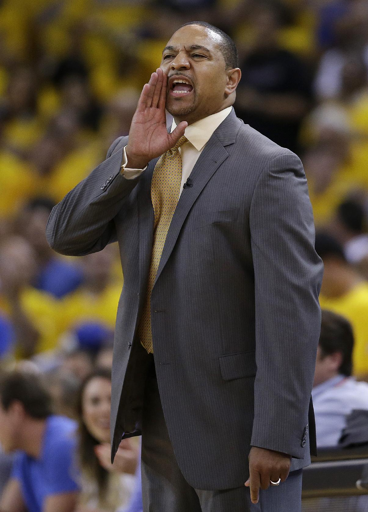 Golden State Warriors head coach Mark Jackson yells from the sideline during the first half of Game 6 of an opening-round NBA basketball playoff series against the Los Angeles Clippers in Oakland, Calif., Thursday, May 1, 2014