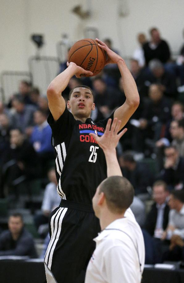Zach LaVine from UCLA participates in the 2014 NBA basketball Draft Combine Thursday, May 15, 2014, in Chicago