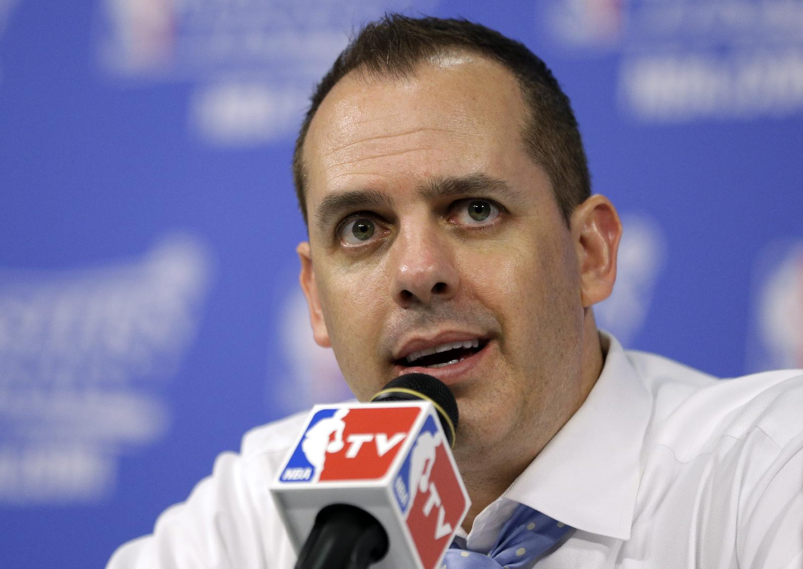 Indiana Pacers coach Frank Vogel speaks during a news conference following Game 3 against the Miami Heat in the NBA basketball Eastern Conference finals playoff series, Saturday, May 24, 2014, in Miami. The Heat defeated the Pacers 99-87