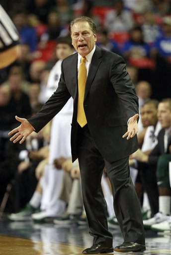 Tom Izzo reacts on the sideline during the Spartan's win. (AP)