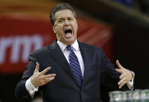 Kentucky coach John Calipari had lot to say during his team's loss to Duke. (AP)