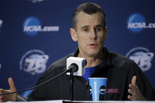 Billy Donovan answers a question during a news conference. (AP)