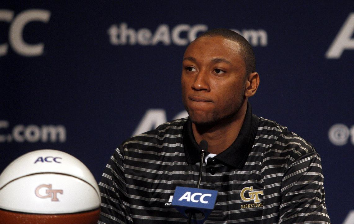 Georgia Tech basketball player Kammeon Holsey listens to a question at a press conference during the NCAA college basketball Atlantic Coast Conference media day in Charlotte, N.C., Wednesday, Oct. 16, 2013