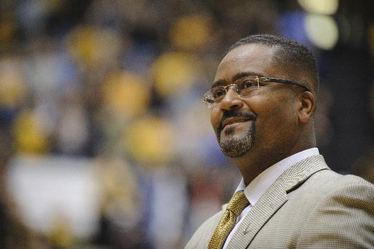 Frank Haith watches the team introductions before Missouri takes on Oklahoma City in the Hearnes Center on Friday, Oct. 25, 2013