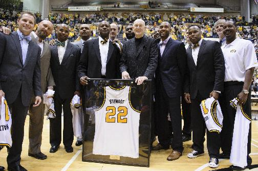 Norm Stewart and the 1994 undefeated Missouri Tigers Big Eight Champions pose before the game against Oklahoma City in the Hearnes Center on Friday, Oct. 25, 2013