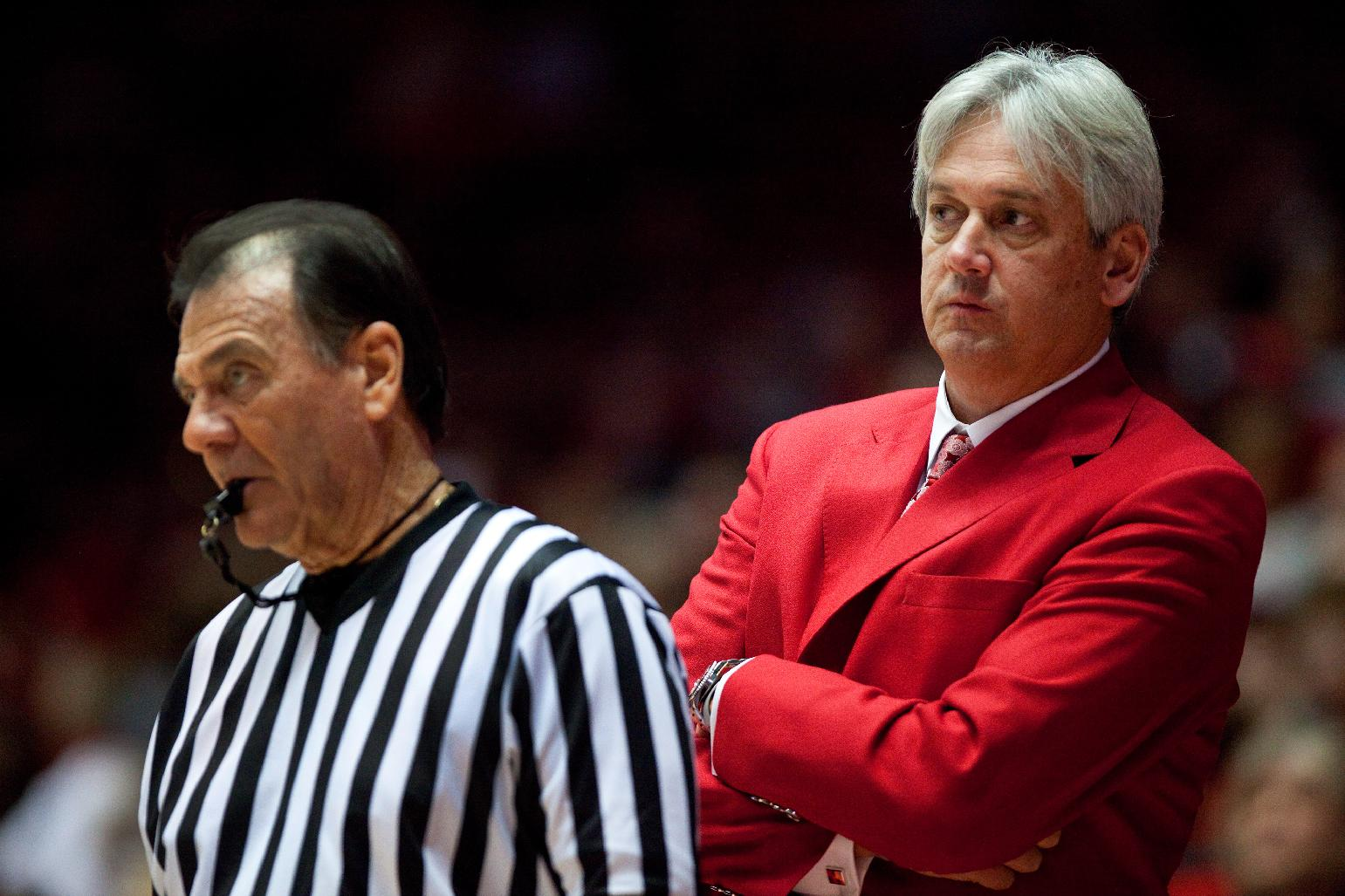 New Mexico head basketball coach Craig Neal watches the action from the sideline against Alabama A&M in the second half of an NCAA basketball game in Albuquerque, N.M., Saturday, Nov. 9, 2013. New Mexico won 88-52