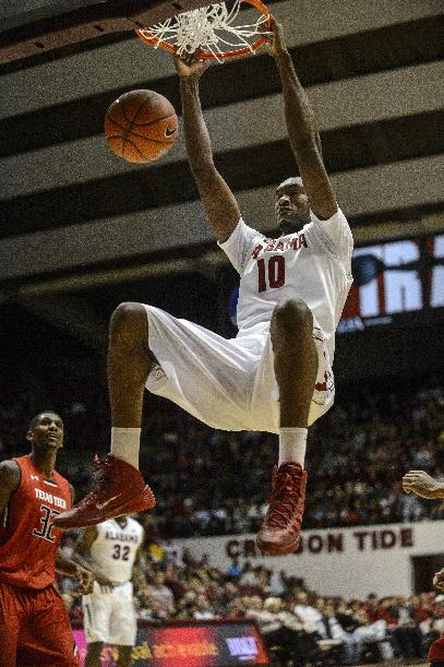 Alabama Forward Jimmie Taylor (10) dunks during an NCAA college basketball game against Texas Tech, Thursday, Nov. 14, 2013, in Tuscaloosa, Ala