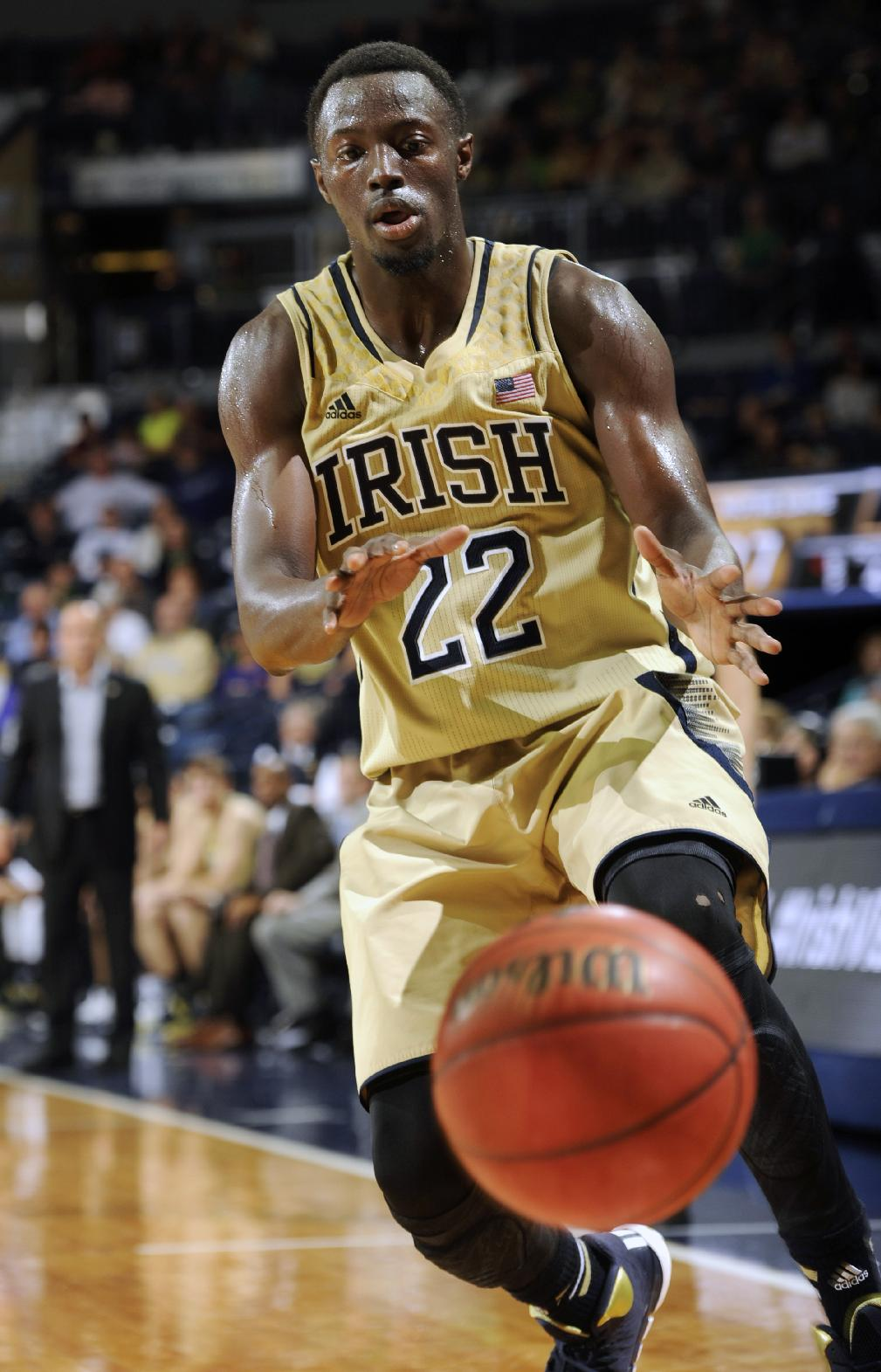 Notre Dame guard Jerian Grant throws a pass during the first half of an NCAA college basketball game against Indiana State, Sunday, Nov. 17, 2013, in South Bend, Ind