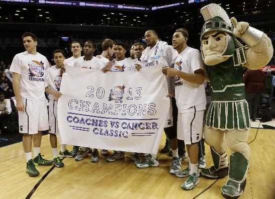 Michigan State's basketball team celebrates after winning the championship game in the Coaches vs. Cancer NCAA college basketball game against the Oklahoma Sunday, Nov. 24, 2013, in New York. Michigan State won 87-76