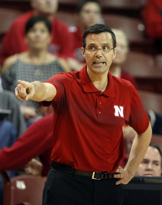 Nebraska's head coach Tim Miles gives direction to his team during their game against Georgia in the second half at the Charleston Classic NCAA college basketball tournament in Charleston, S.C., Sunday, Nov. 24, 2013