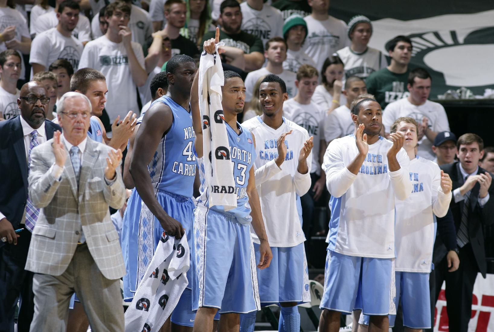 The North Carolina bench celebrates late in the game during the second half of an NCAA college basketball game against Michigan State, Wednesday, Dec. 4, 2013, in East Lansing, Mich. North Carolina won 79-65