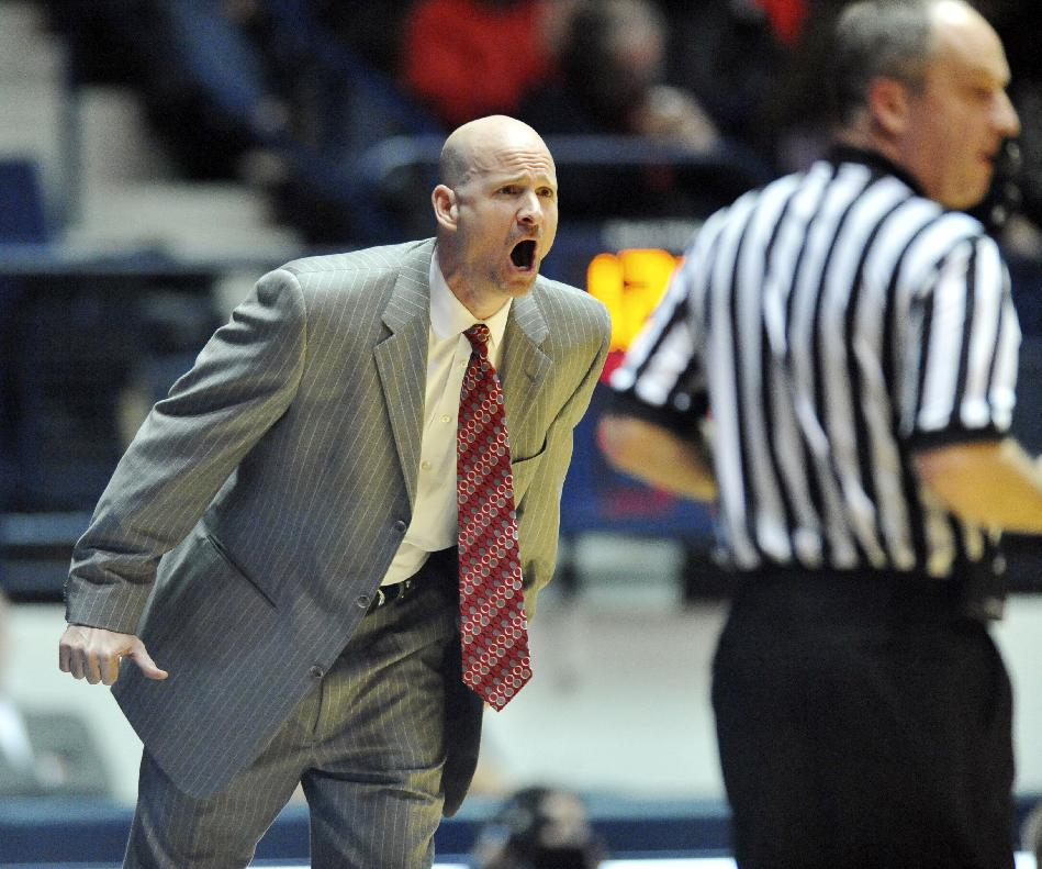 Mississippi head coach Andy Kennedy yells instructions against Middle Tennessee State in Oxford, Miss., on Saturday, Dec. 14, 2013