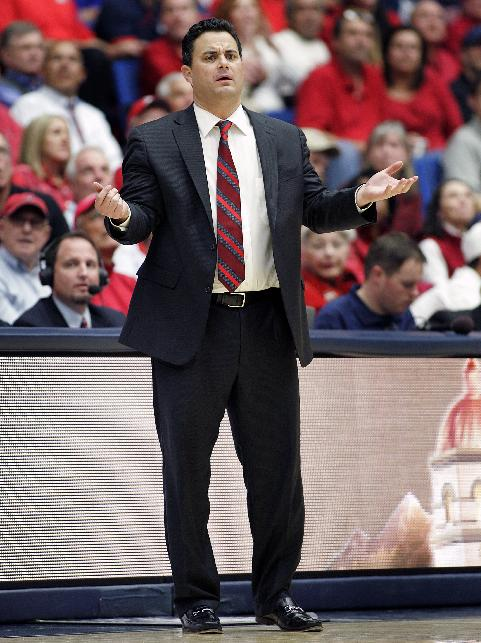 Arizona's head coach Sean Miller reacts on the sideline during the second half of an NCAA college basketball game against Southern University on Thursday, Dec. 19, 2013, in Tucson, Ariz. Arizona won 69-43