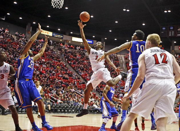 San Diego State guard Xavier Thames, center, shoots in front of the McNeese State defense during the first half of an NCAA college basketball game in San Diego, Saturday, Dec. 21, 2013