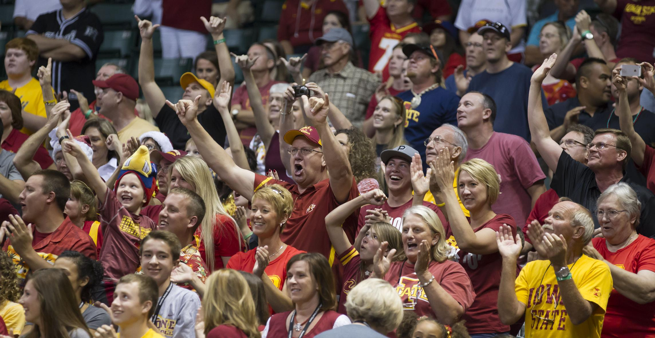 The Iowa State fans count down the final seconds of the game as their team defeated Boise State 70-66 in an NCAA college basketball game at the Diamond Head Classic on Wednesday, Dec. 25, 2013, in Honolulu