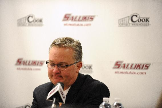CORRECTS TO SON-IN-LAW, NOT FATHER - Southern Illinois head coach Barry Hinson talks about the death of his son-in-law during a news conference after a Missouri Valley Conference NCAA college basketball game against Wichita State in Carbondale, Ill., Thursday, Jan. 2, 2014. Wichita State defeated Southern Illinois 82-67