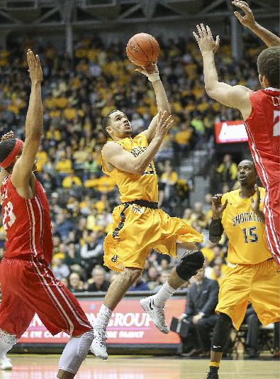 Wichita State's Fred VanVleet goes up for two points against Illinois State in the second half of an NCAA college basketball game on Wednesday, Jan. 8, 2014