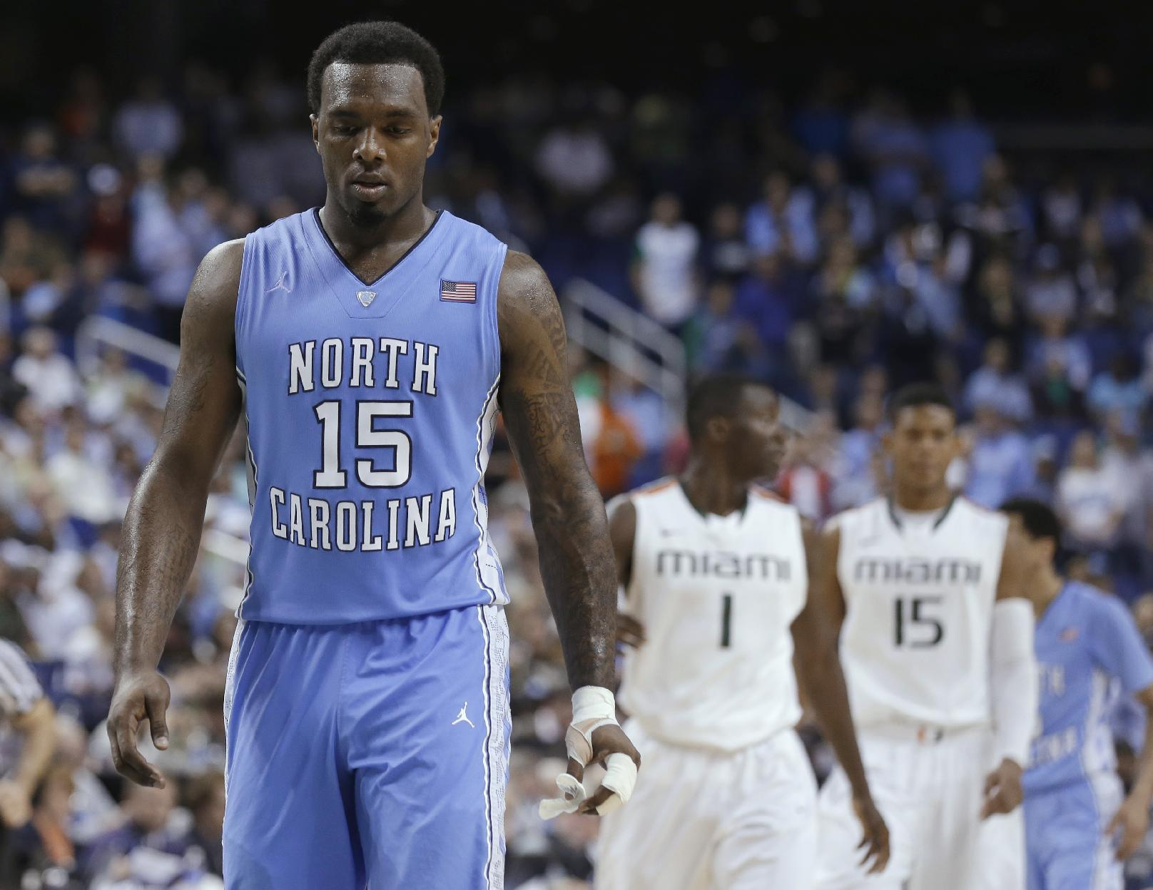 In this March 17, 2013, file photo, North Carolina's P.J. Hairston (15) walks downcourt during NCAA college basketball game against Miami in the championship of the Atlantic Coast Conference tournament in Greensboro, N.C. Hairston says he will play in the NBA Development League. In a statement, Hairston said he submitted paperwork to play in the league Friday afternoon, Jan. 10, 2014. The Tar Heels' leading scorer never played this season after the school decided last month not to seek his reinstatement for NCAA rules violations