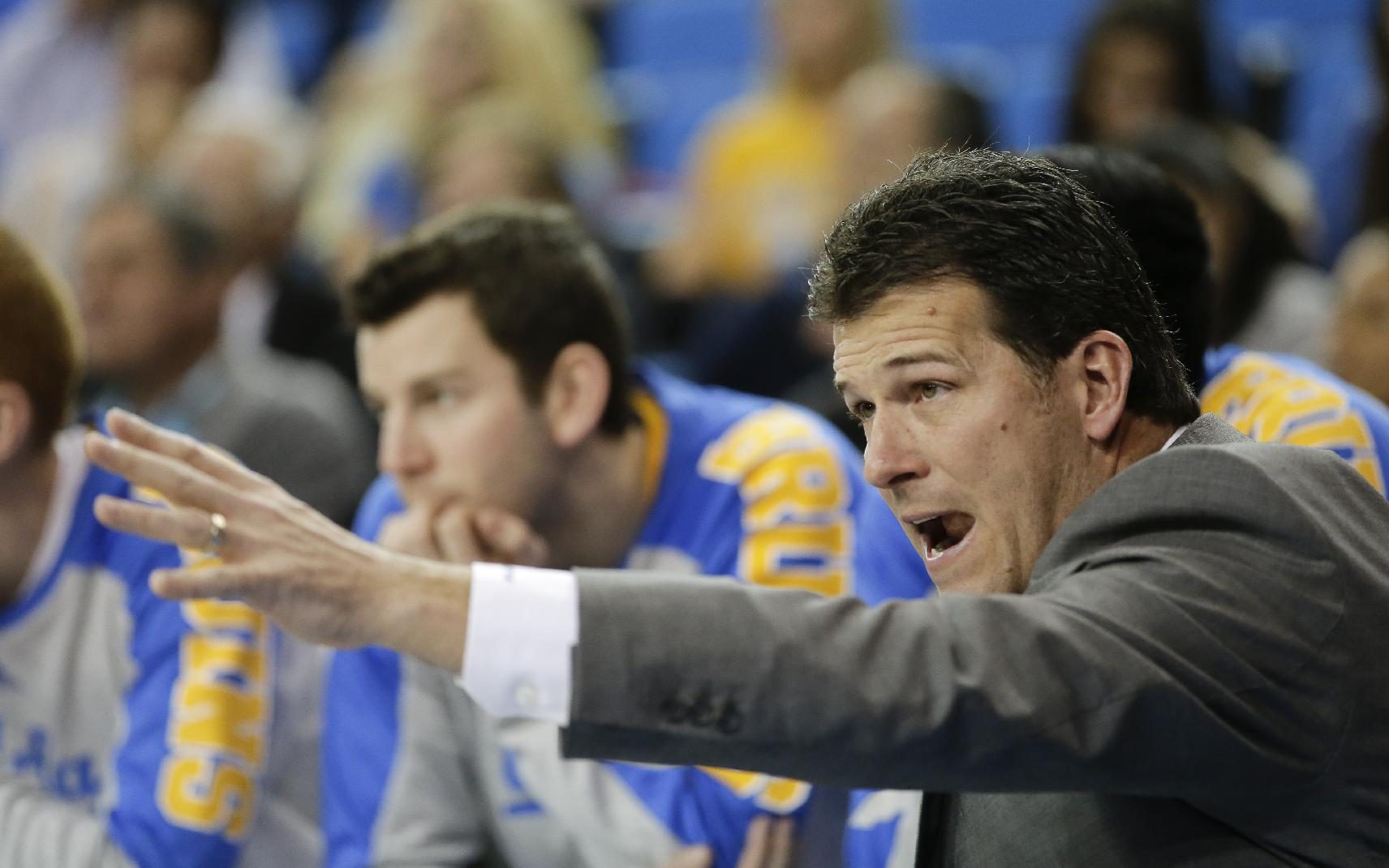 UCLA coach Steve Alford yells to his team during the second half of an NCAA college basketball game against Arizona State in Los Angeles, Sunday, Jan. 12, 2014