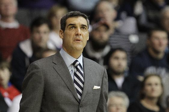 Villanova coach Jay Wright watches from the bench in the second half of an NCAA college basketball game against DePaul, Saturday, Jan. 18, 2014, in Villanova, Pa. Villanova won 88-62