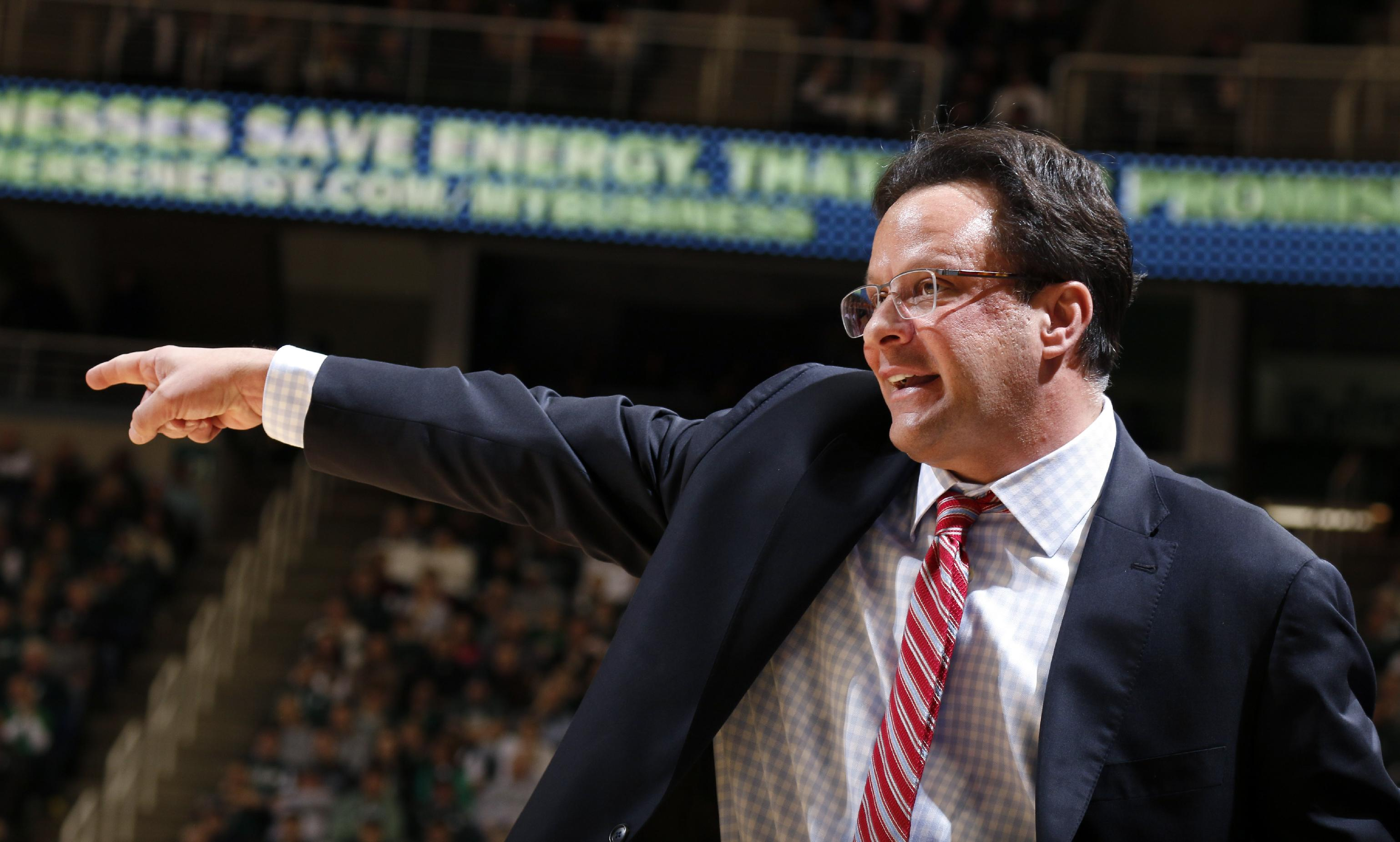 Indiana coach Tom Crean gives instructions during the first half of an NCAA college basketball game against Michigan State, Tuesday, Jan. 21, 2014, in East Lansing, Mich. Michigan State won 71-66