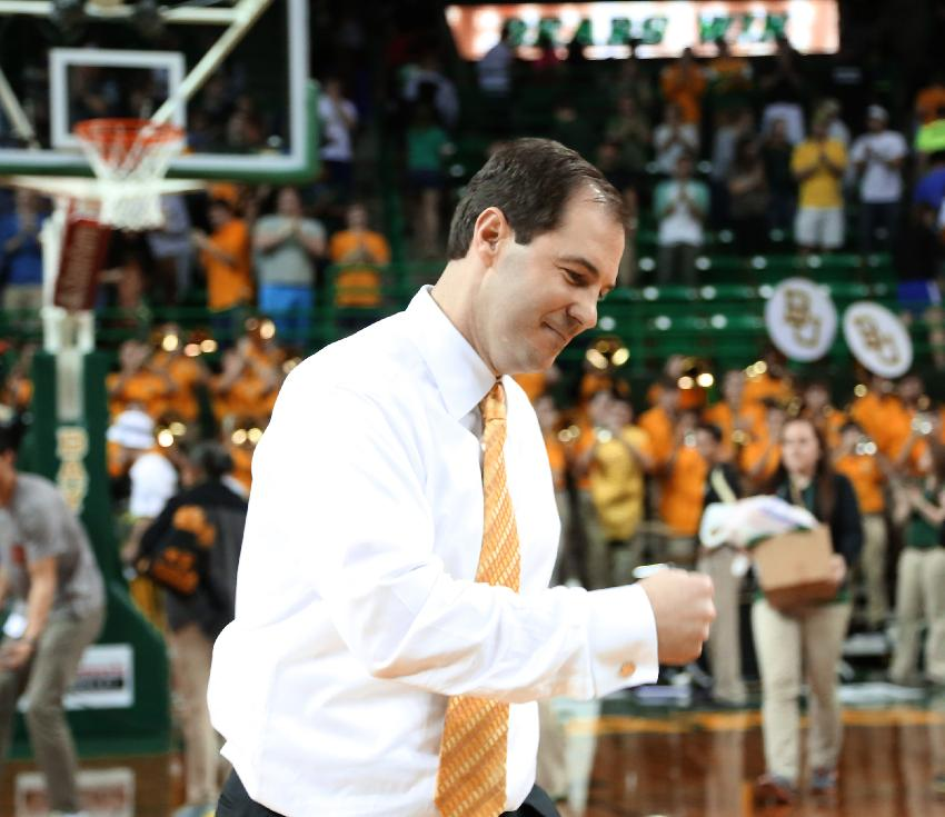 Baylor head coach Scott Drew reacts to their overtime 70-64 win over Oklahoma State in an NCAA college basketball game, Monday, Feb. 17, 2014, in Waco, Texas