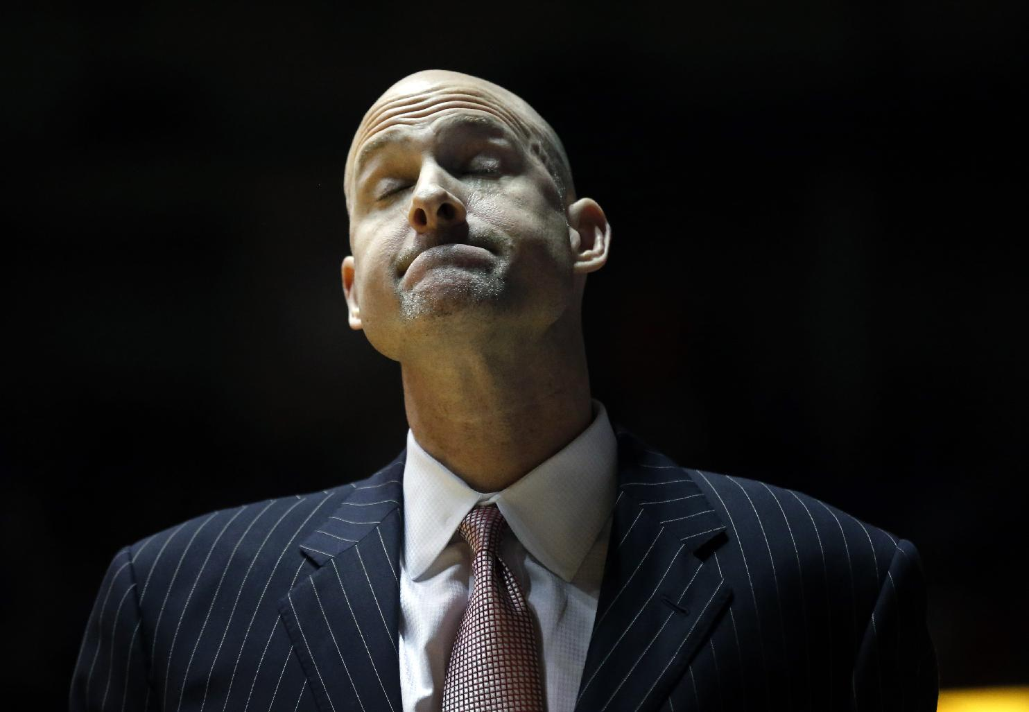 Mississippi basketball coach Andy Kennedy reacts to a missed attempt against Florida in the second half of an NCAA college basketball game in Oxford, Miss., Saturday, Feb. 22, 2014. No. 2 Florida won 75-71