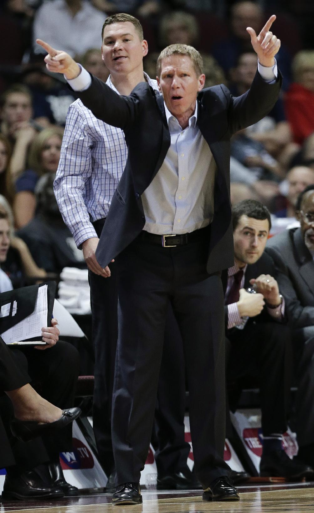 Gonzaga coach Mark Few motions to players in the second half against BYU during an NCAA college basketball game for the West Coast Conference men's tournament title, Tuesday, March 11, 2014, in Las Vegas. Gonzaga won 75-64