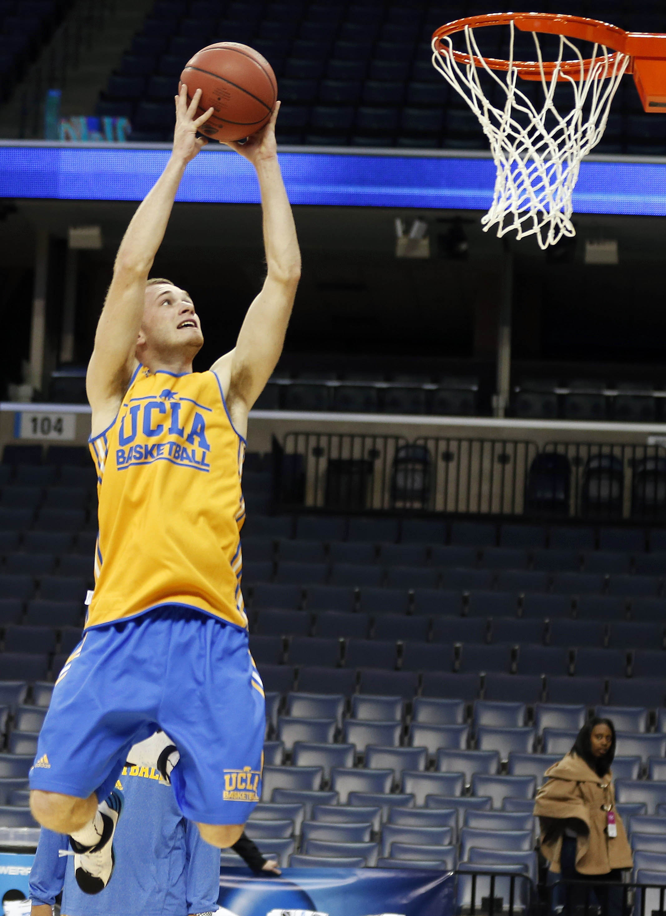 UCLA guard Bryce Alford works out during practice at the NCAA college basketball tournament, Wednesday, March 26, 2014, in Memphis, Tenn. UCLA plays Florida in a regional semifinal on Thursday
