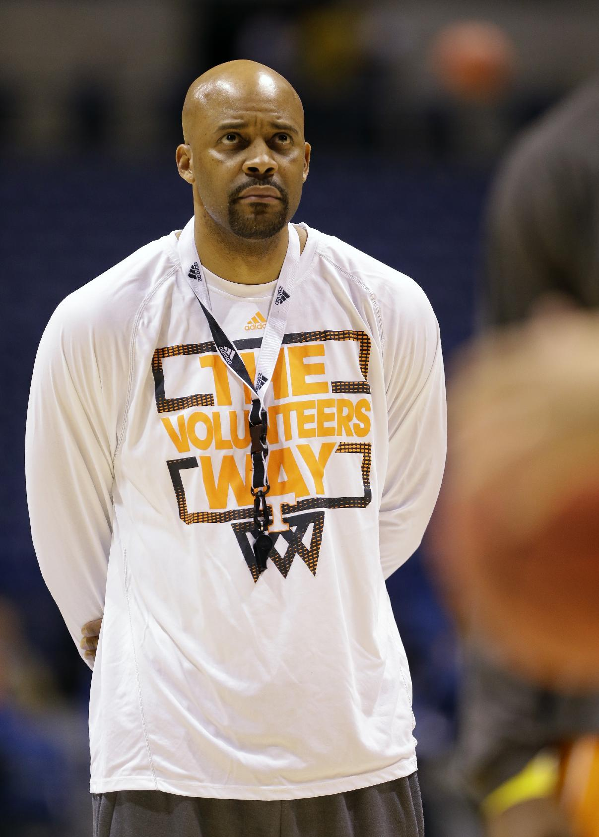 Tennessee head coach Cuonzo Martin watches his team during practice for the NCAA Midwest Regional semifinal college basketball tournament game Thursday, March 27, 2014, in Indianapolis. Tennessee plays Michigan on Friday, March 28, 2013