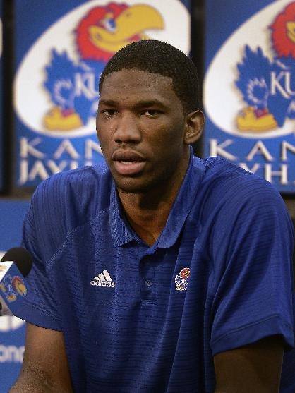 Kansas centerJoel Embiid announces his intention to enter the NBA basketball draft in Lawrence, Kan., Wednesday, April 9, 2014