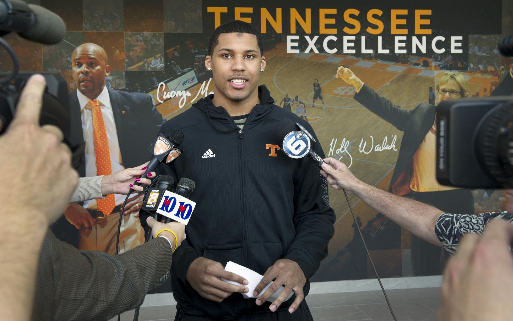 Tennessee's Jarnell Stokes announces he is bypassing his senior season to enter the NBA basketball draft in Knoxville, Tenn., Friday, April 11, 2014. Stokes averaged 15.1 points and 10.6 rebounds per game to earn first-team all-Southeastern Conference honors this season while helping Tennessee go 24-13 and reach the Midwest Regional semifinals